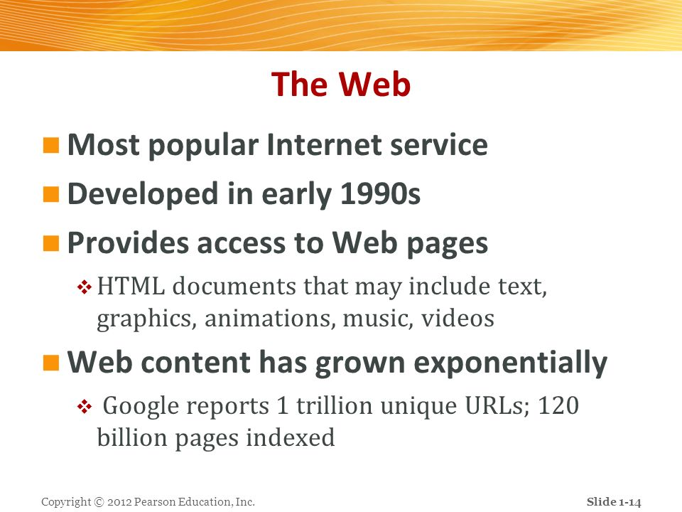 The Web Most popular Internet service Developed in early 1990s Provides access to Web pages HTML documents that may include text, graphics, animations