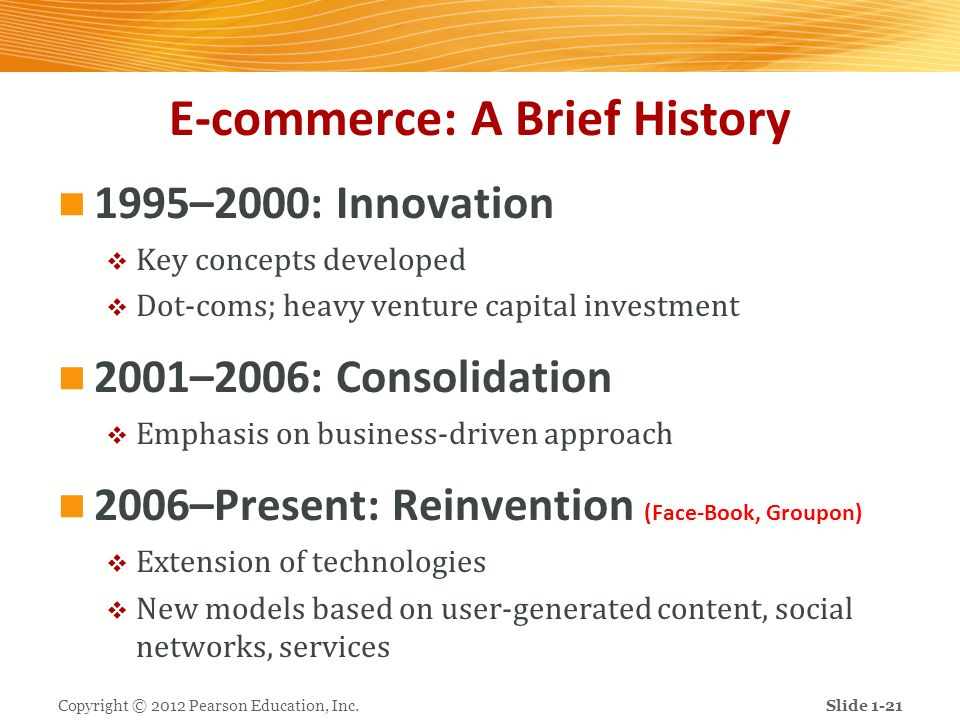 E-commerce: A Brief History 1995–2000: Innovation Key concepts developed Dot-coms; heavy venture capital investment 2001–2006: Consolidation Emphasis
