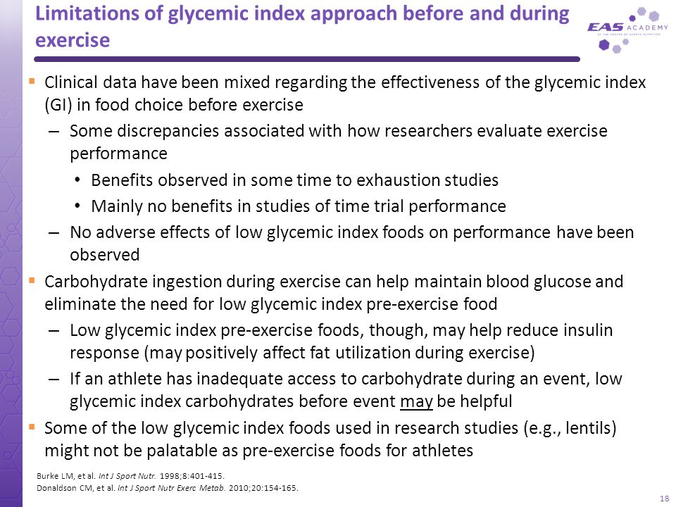 Limitations of glycemic index approach before and during exercise Clinical data have been mixed regarding the effectiveness of the glycemic index (GI)