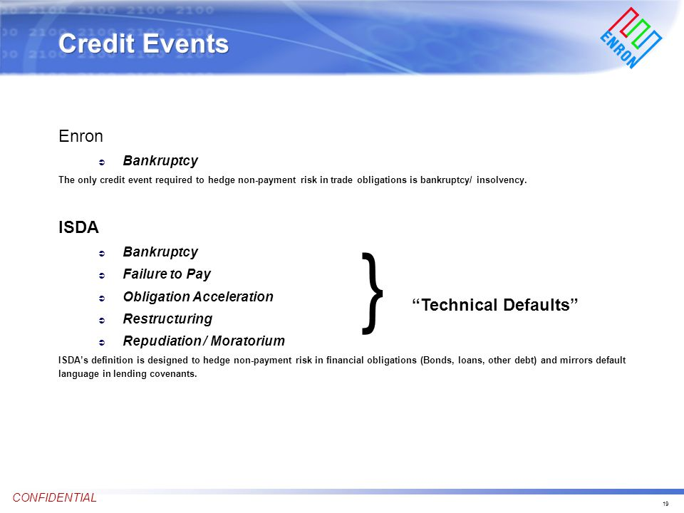 19 CONFIDENTIAL Enron Ü Bankruptcy The only credit event required to hedge non-payment risk in trade obligations is bankruptcy/ insolvency.