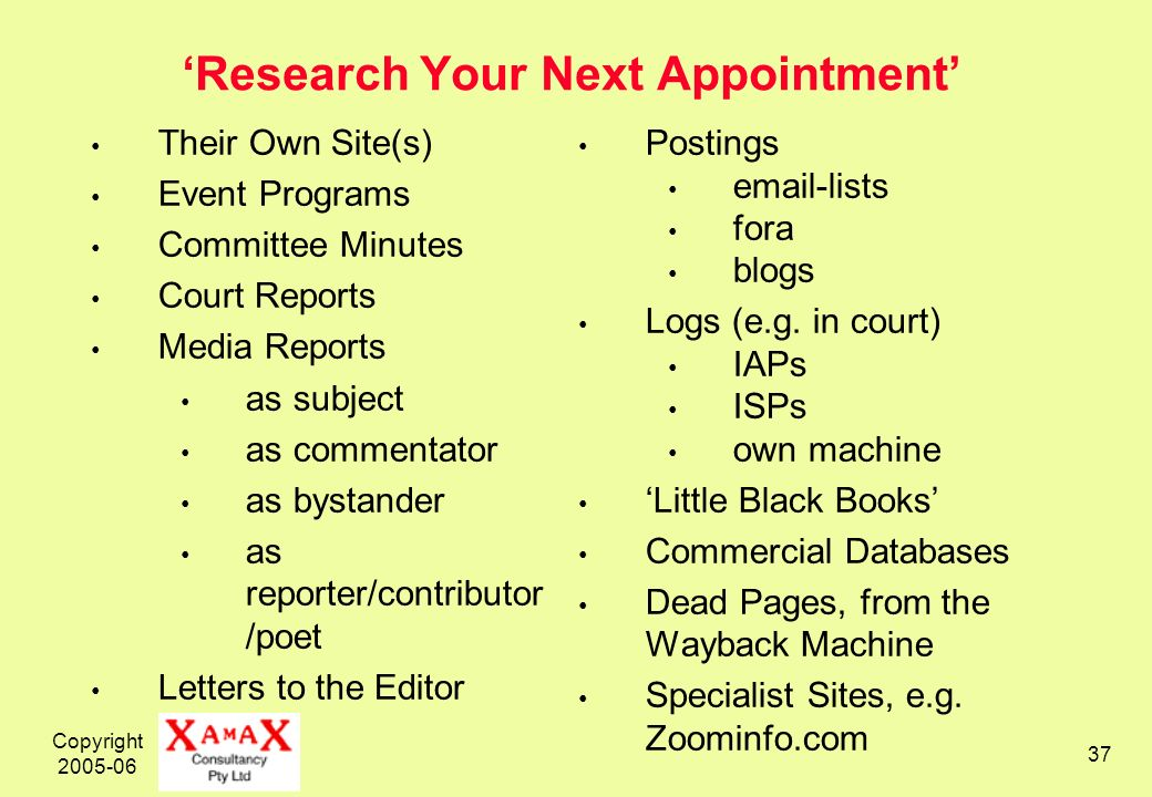 Copyright 2005-06 37 Research Your Next Appointment Their Own Site(s) Event Programs Committee Minutes Court Reports Media Reports as subject as comme