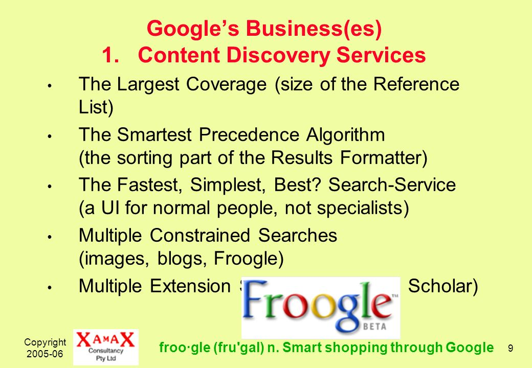 Copyright 2005-06 9 Googles Business(es) 1. Content Discovery Services The Largest Coverage (size of the Reference List) The Smartest Precedence Algor