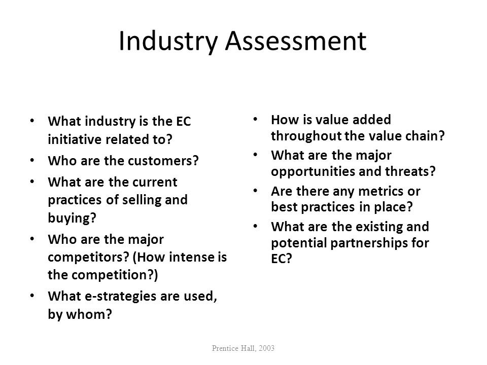 Industry Assessment What industry is the EC initiative related to? Who are the customers? What are the current practices of selling and buying? Who ar
