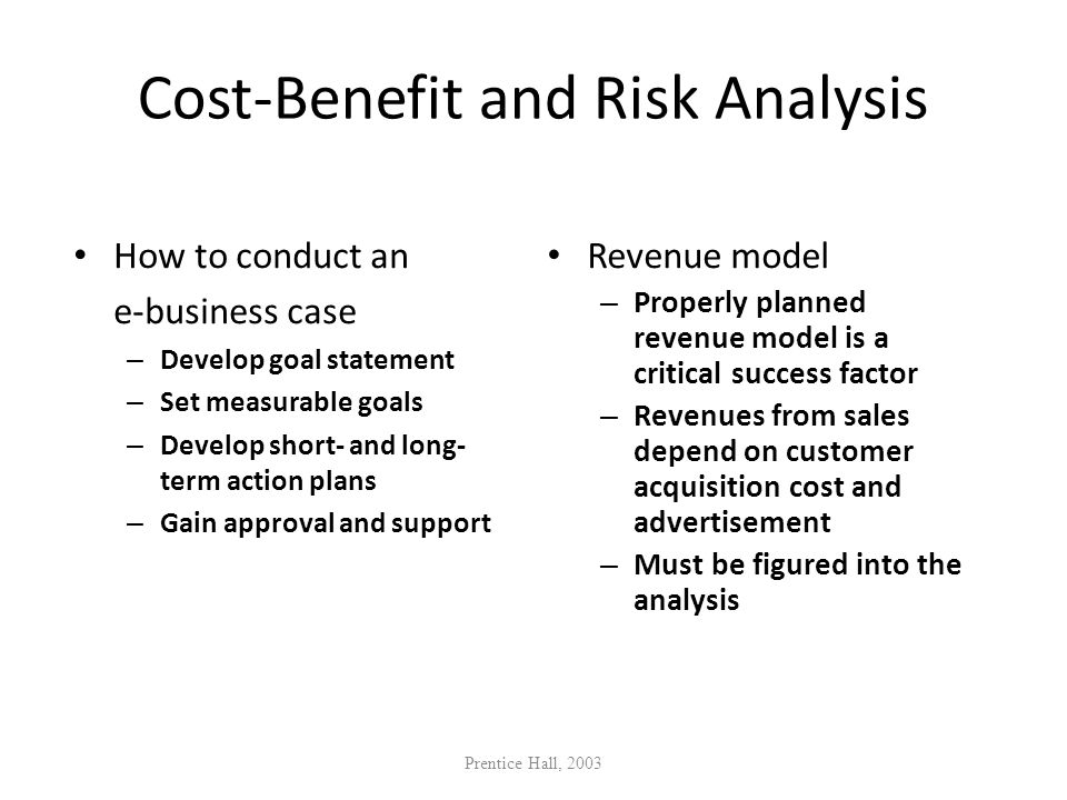 Cost-Benefit and Risk Analysis How to conduct an e-business case – Develop goal statement – Set measurable goals – Develop short- and long- term actio