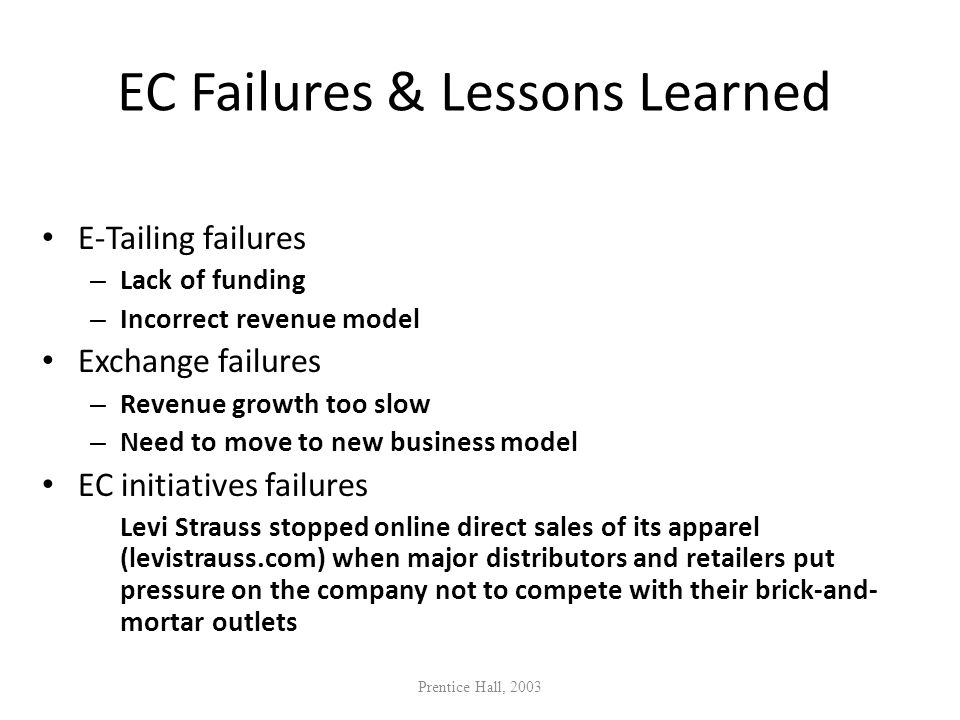 EC Failures & Lessons Learned E-Tailing failures – Lack of funding – Incorrect revenue model Exchange failures – Revenue growth too slow – Need to mov