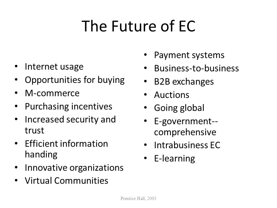 The Future of EC Internet usage Opportunities for buying M-commerce Purchasing incentives Increased security and trust Efficient information handing I