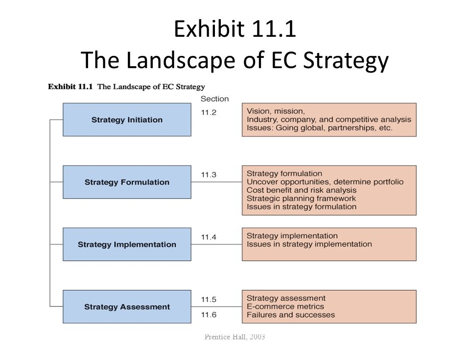 Exhibit 11.1 The Landscape of EC Strategy Prentice Hall, 2003