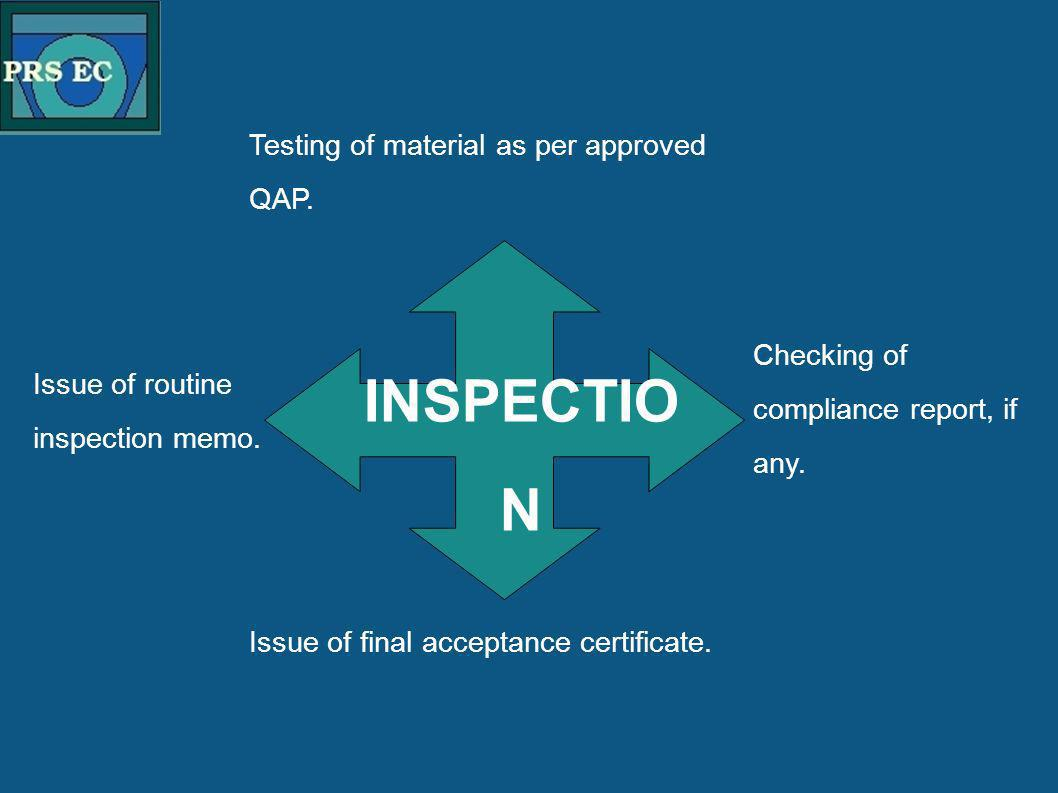 PRS Testing of material as per approved QAP. INSPECTIO N Issue of routine inspection memo. Checking of compliance report, if any. Issue of final accep