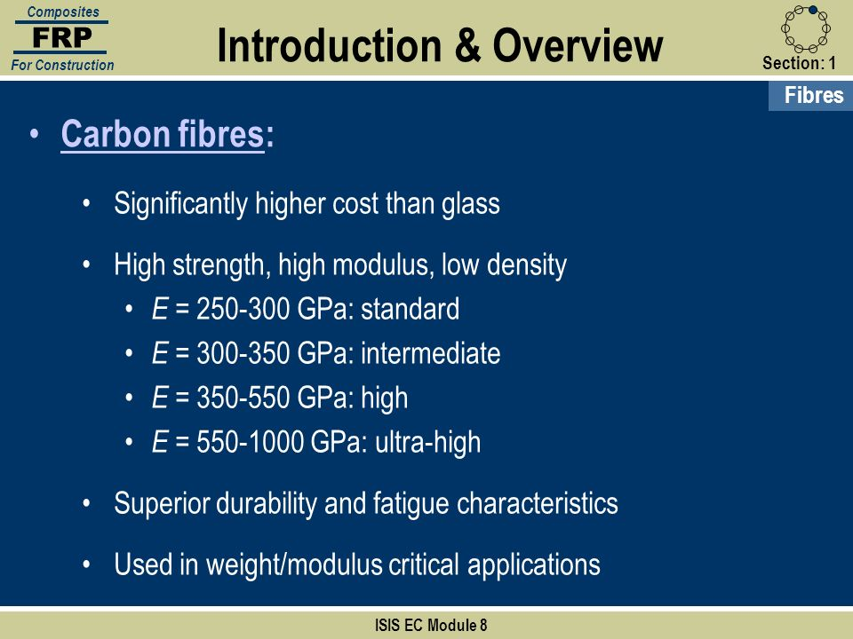 Section:1 ISIS EC Module 8 FRP Composites For Construction Fibres Introduction & Overview Carbon fibres: Significantly higher cost than glass High str