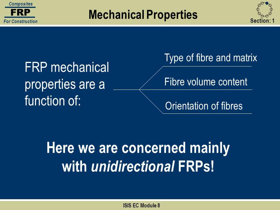 Mechanical Properties FRP Composites For Construction FRP mechanical properties are a function of: Type of fibre and matrix Fibre volume content Orien