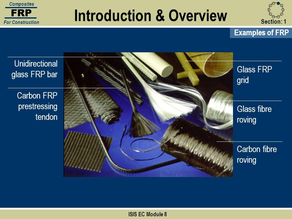 ISIS EC Module 8 Examples of FRP Glass fibre roving Carbon fibre roving Unidirectional glass FRP bar Carbon FRP prestressing tendon Glass FRP grid FRP