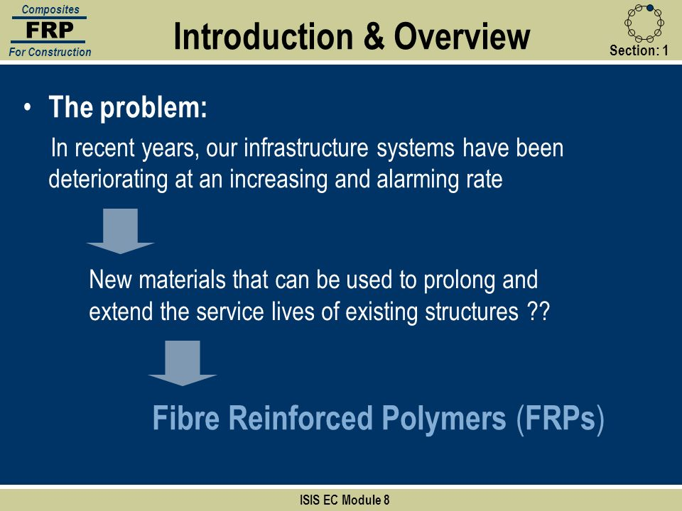 Section:1 Introduction & Overview ISIS EC Module 8 FRP Composites For Construction The problem: In recent years, our infrastructure systems have been