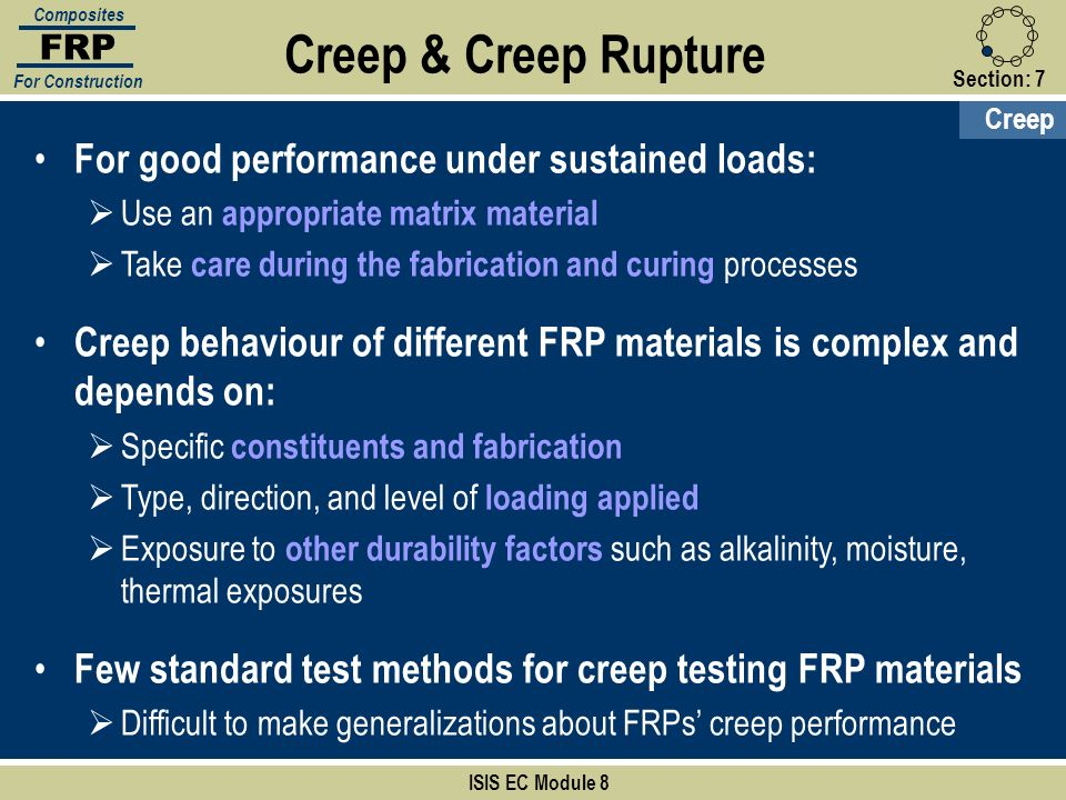 Section:7 ISIS EC Module 8 FRP Composites For Construction For good performance under sustained loads: Use an appropriate matrix material Take care du