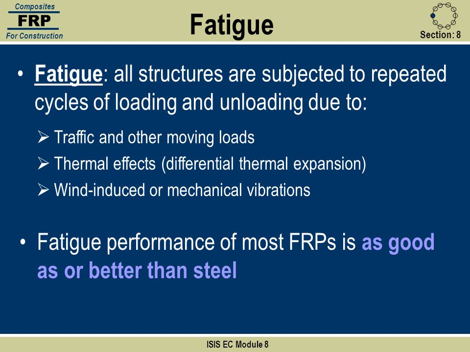 Section:8 ISIS EC Module 8 FRP Composites For Construction Fatigue : all structures are subjected to repeated cycles of loading and unloading due to: