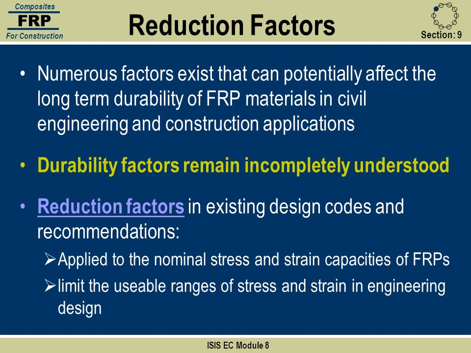 Section:9 ISIS EC Module 8 FRP Composites For Construction Numerous factors exist that can potentially affect the long term durability of FRP material