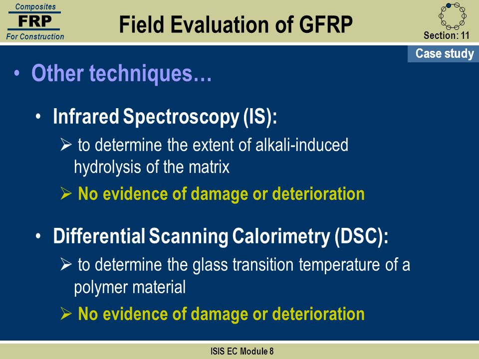 ISIS EC Module 8 FRP Composites For Construction Other techniques… Field Evaluation of GFRP Case study Infrared Spectroscopy (IS): to determine the ex
