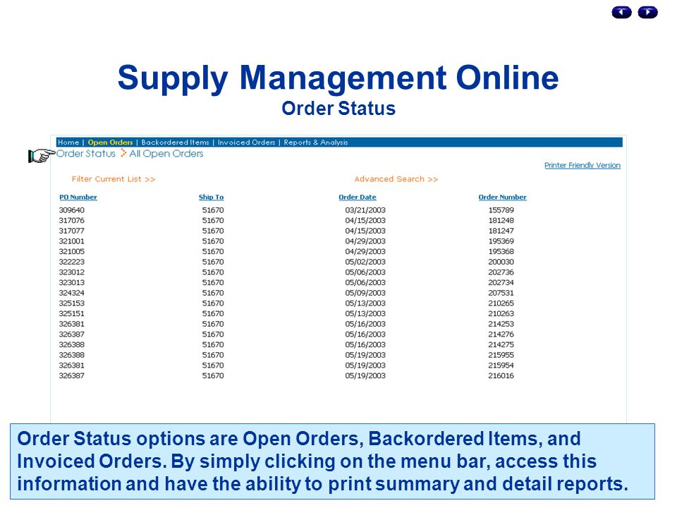 Supply Management Online Order Status Order Status options are Open Orders, Backordered Items, and Invoiced Orders.
