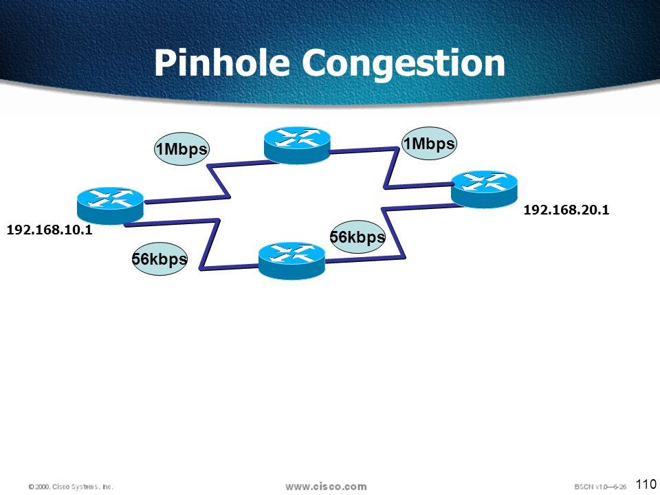 110 Pinhole Congestion 192.168.10.1 192.168.20.1 1Mbps 56kbps