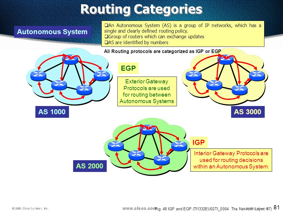 81 Autonomous System AS 2000 AS 3000 IGP Interior Gateway Protocols are used for routing decisions within an Autonomous System.