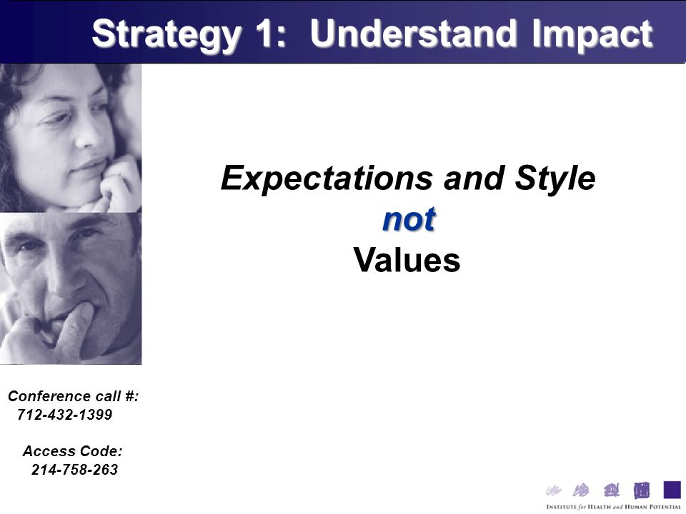 Conference call #: 712-432-1399 Access Code: 214-758-263 Expectations and Stylenot Values Strategy 1: Understand Impact