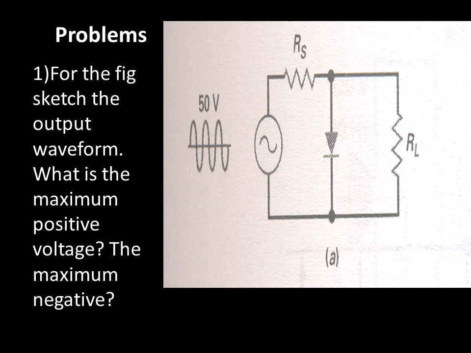 Problems 1)For the fig sketch the output waveform. What is the maximum positive voltage? The maximum negative?