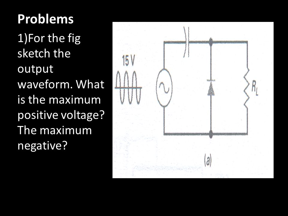 1)For the fig sketch the output waveform. What is the maximum positive voltage? The maximum negative? Problems