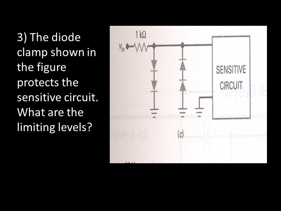 3) The diode clamp shown in the figure protects the sensitive circuit. What are the limiting levels?