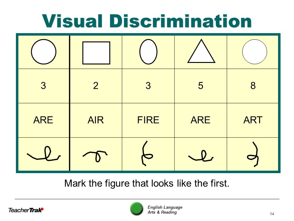 English Language Arts & Reading 14 Visual Discrimination Mark the figure that looks like the first. 32358 AREAIRFIREAREART