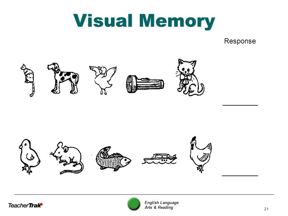 English Language Arts & Reading 21 Visual Memory Response _________ ________