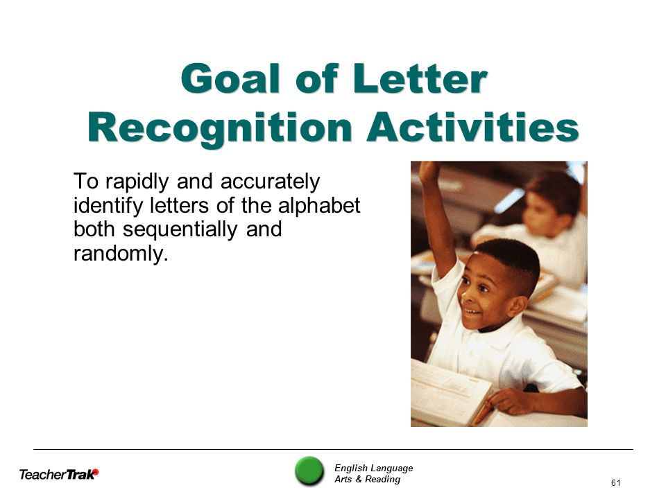 English Language Arts & Reading 61 Goal of Letter Recognition Activities To rapidly and accurately identify letters of the alphabet both sequentially