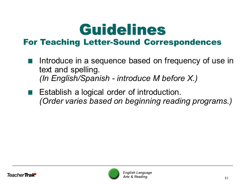 English Language Arts & Reading 63 Guidelines Introduce in a sequence based on frequency of use in text and spelling. (In English/Spanish - introduce