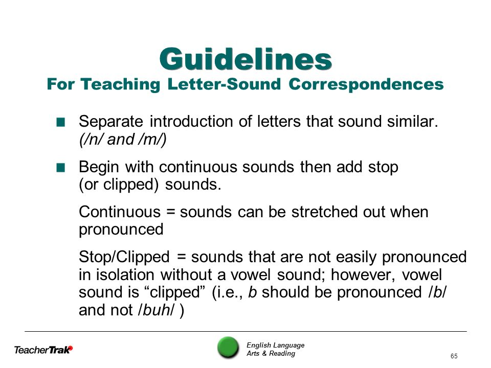 English Language Arts & Reading 65 Guidelines Separate introduction of letters that sound similar. (/n/ and /m/) Begin with continuous sounds then add