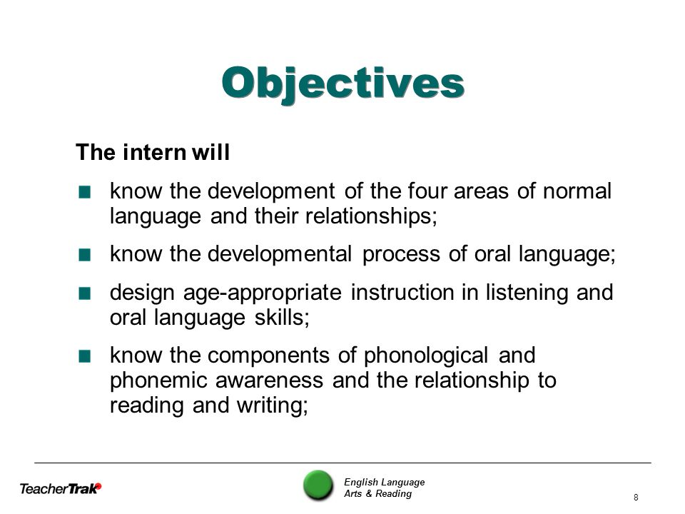 English Language Arts & Reading 8 Objectives The intern will know the development of the four areas of normal language and their relationships; know t