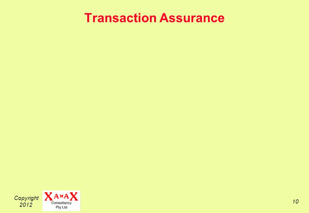 Copyright 2012 10 Transaction Assurance