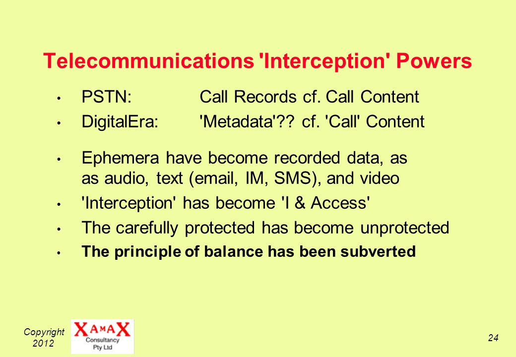 Copyright 2012 24 Telecommunications Interception Powers PSTN: Call Records cf.