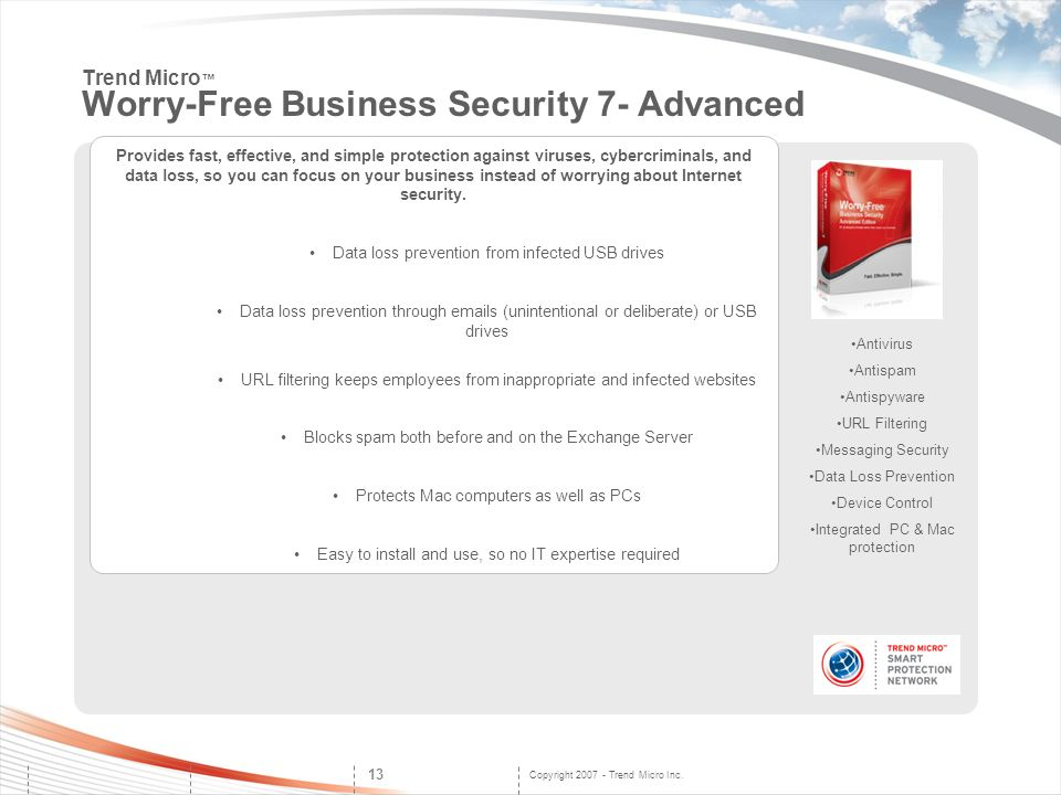 Copyright 2007 - Trend Micro Inc. 13 Antivirus Antispam Antispyware URL Filtering Messaging Security Data Loss Prevention Device Control Integrated PC