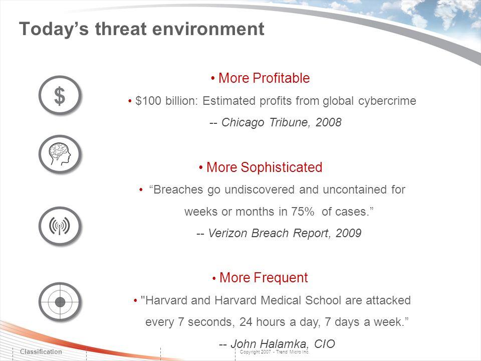 Copyright 2007 - Trend Micro Inc. Classification More Profitable $100 billion: Estimated profits from global cybercrime -- Chicago Tribune, 2008 More