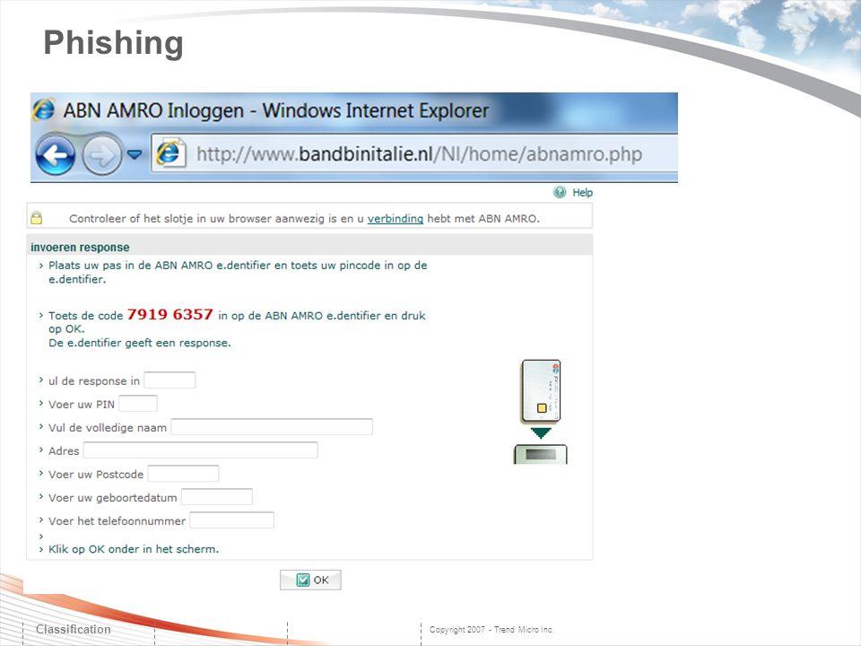 Copyright 2007 - Trend Micro Inc. Phishing Classification