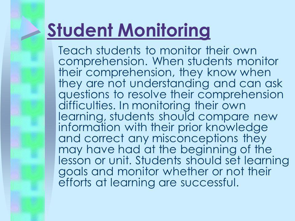 Student Monitoring Teach students to monitor their own comprehension. When students monitor their comprehension, they know when they are not understan