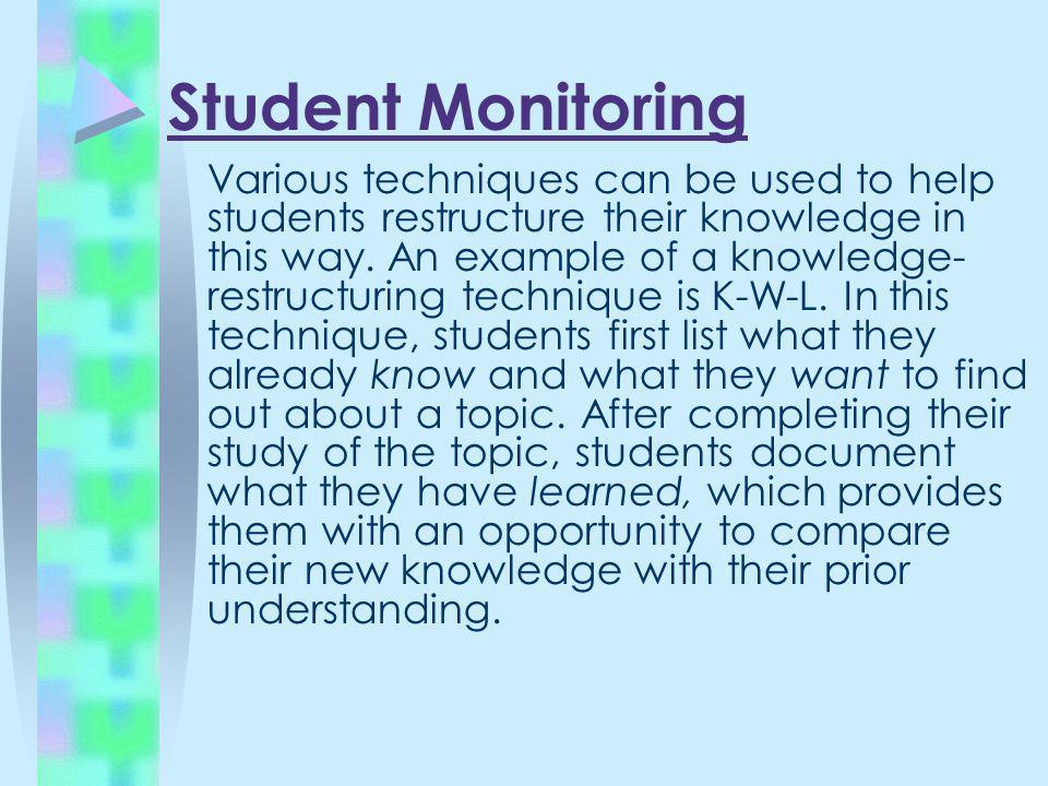 Student Monitoring Various techniques can be used to help students restructure their knowledge in this way. An example of a knowledge- restructuring