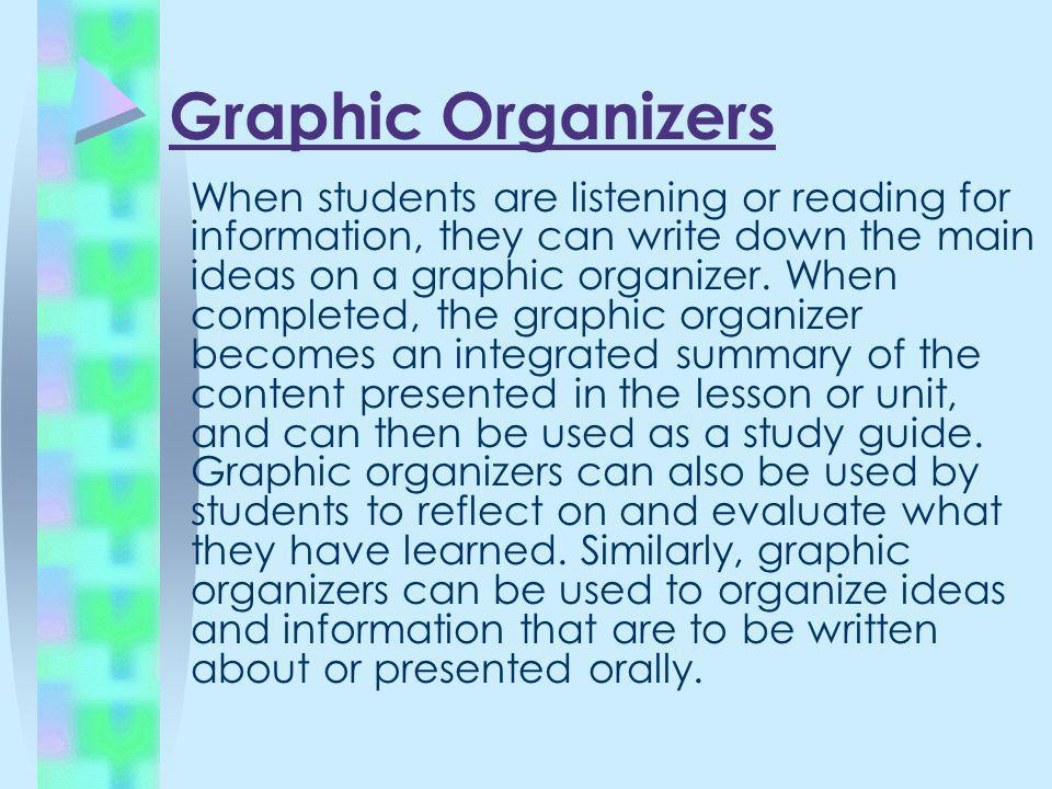 Graphic Organizers When students are listening or reading for information, they can write down the main ideas on a graphic organizer. When completed,
