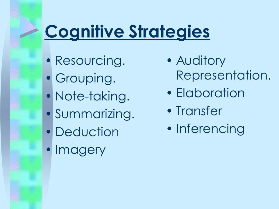 Cognitive Strategies Resourcing. Grouping. Note-taking. Summarizing. Deduction Imagery Auditory Representation. Elaboration Transfer Inferencing