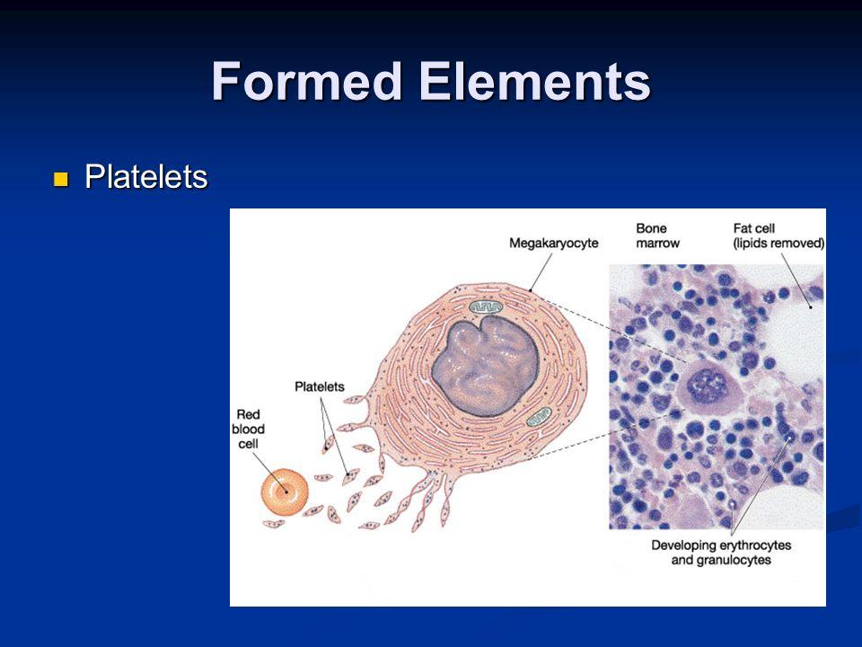 Formed Elements Platelets Platelets