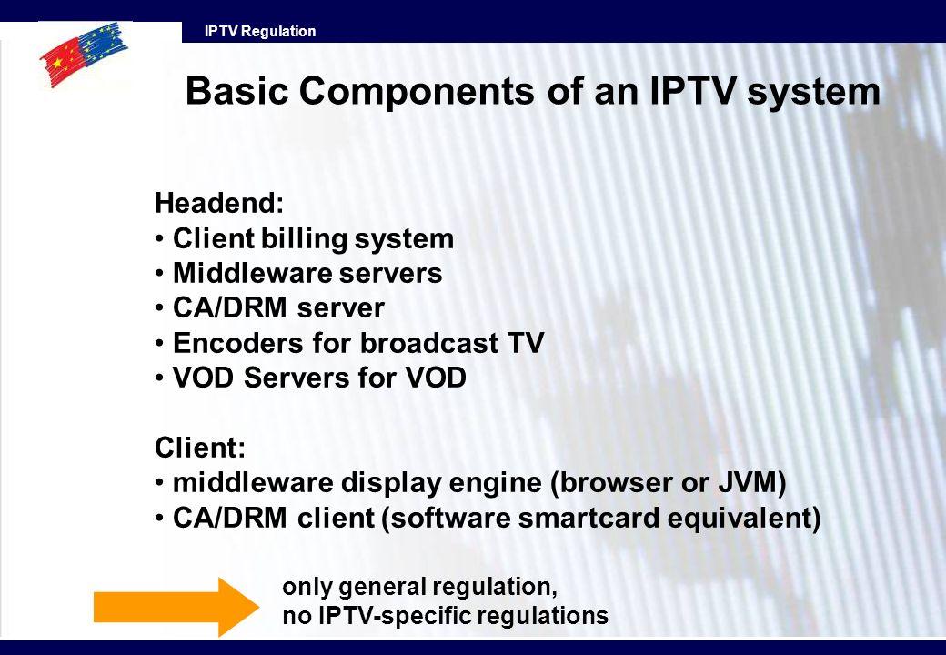 IPTV Regulation Headend: Client billing system Middleware servers CA/DRM server Encoders for broadcast TV VOD Servers for VOD Client: middleware displ