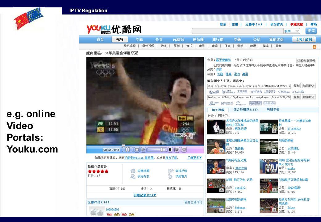 IPTV Regulation e.g. online Video Portals: Youku.com