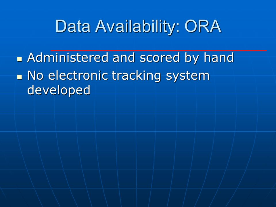 Data Availability: ORA Administered and scored by hand Administered and scored by hand No electronic tracking system developed No electronic tracking system developed