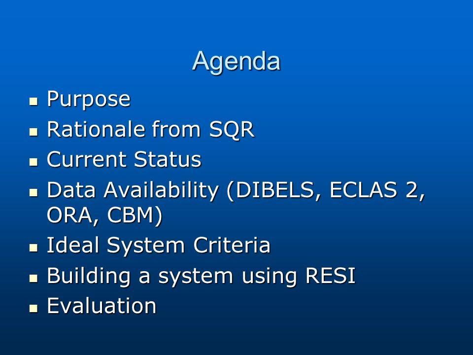 Agenda Purpose Purpose Rationale from SQR Rationale from SQR Current Status Current Status Data Availability (DIBELS, ECLAS 2, ORA, CBM) Data Availability (DIBELS, ECLAS 2, ORA, CBM) Ideal System Criteria Ideal System Criteria Building a system using RESI Building a system using RESI Evaluation Evaluation