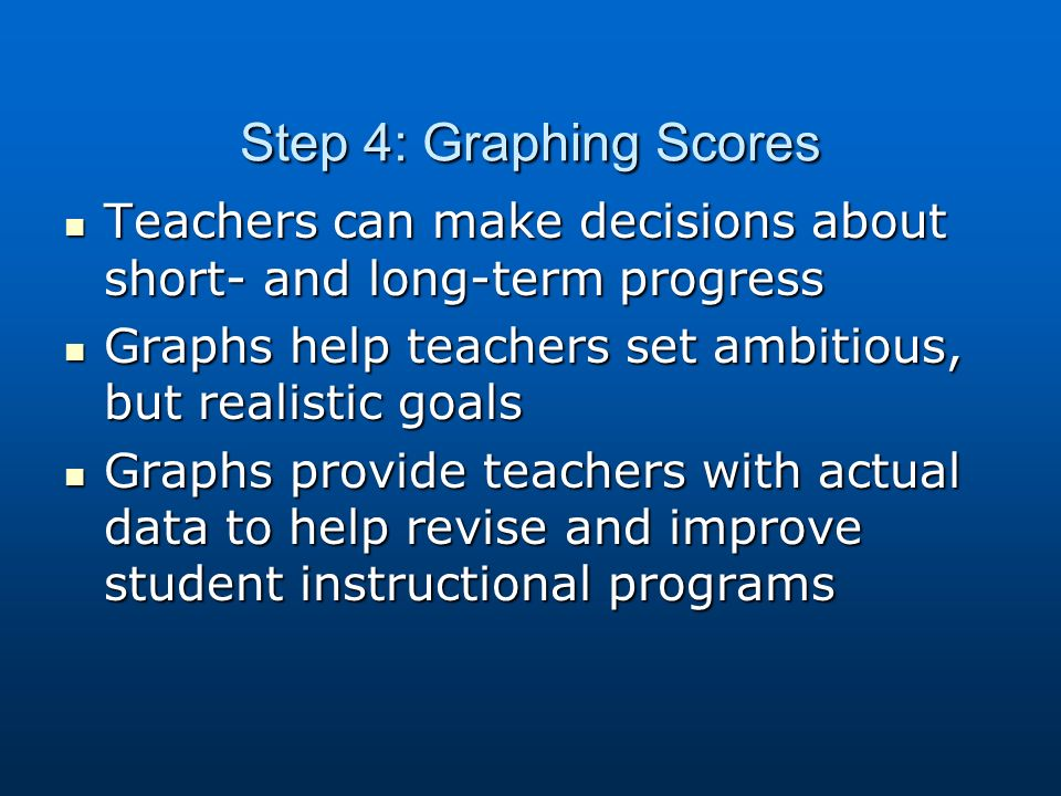Step 4: Graphing Scores Teachers can make decisions about short- and long-term progress Teachers can make decisions about short- and long-term progress Graphs help teachers set ambitious, but realistic goals Graphs help teachers set ambitious, but realistic goals Graphs provide teachers with actual data to help revise and improve student instructional programs Graphs provide teachers with actual data to help revise and improve student instructional programs
