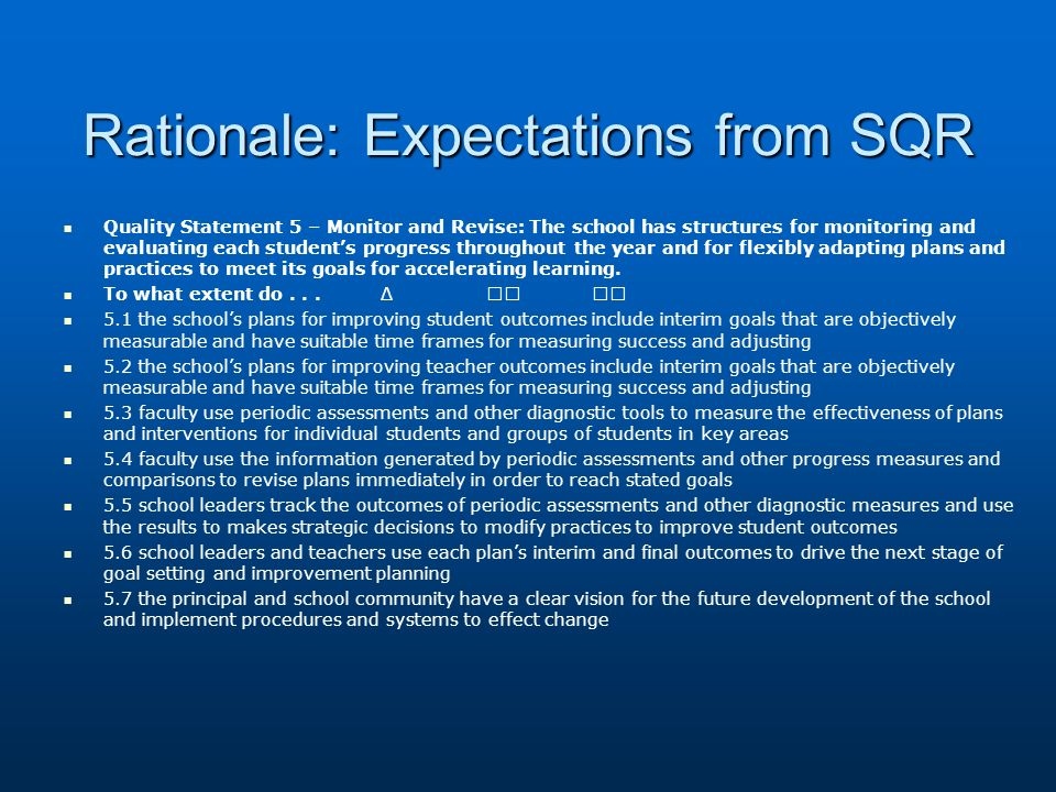 Rationale: Expectations from SQR Quality Statement 5 – Monitor and Revise: The school has structures for monitoring and evaluating each students progr