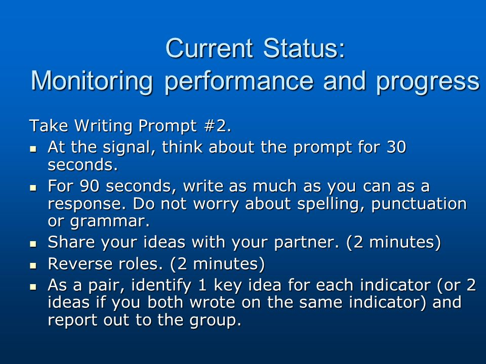 Current Status: Monitoring performance and progress Take Writing Prompt #2. At the signal, think about the prompt for 30 seconds. At the signal, think